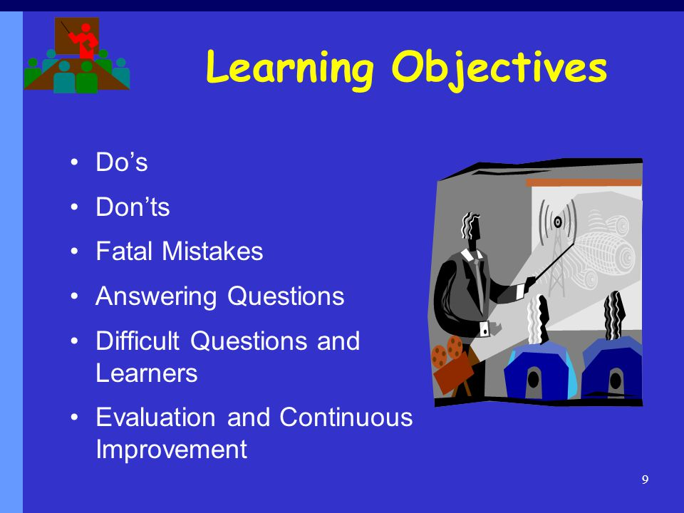 Learning Objectives Do's Don'ts Fatal Mistakes Answering Questions
