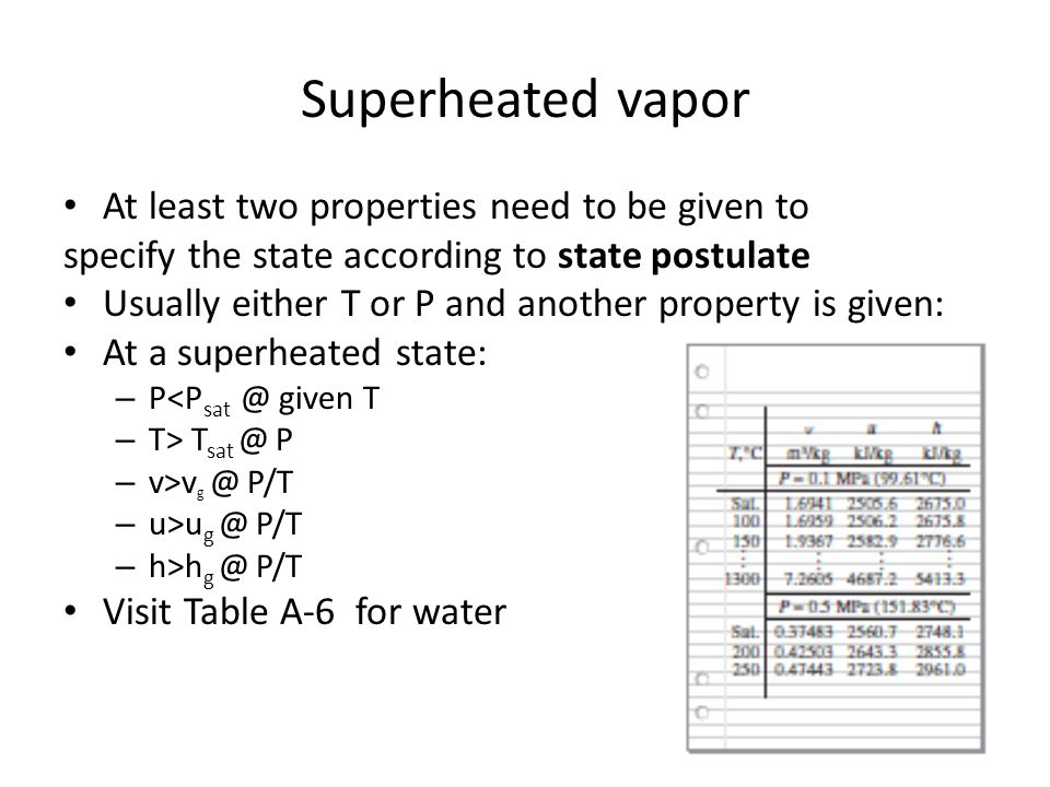 Superheated vapor At least two properties need to be given to
