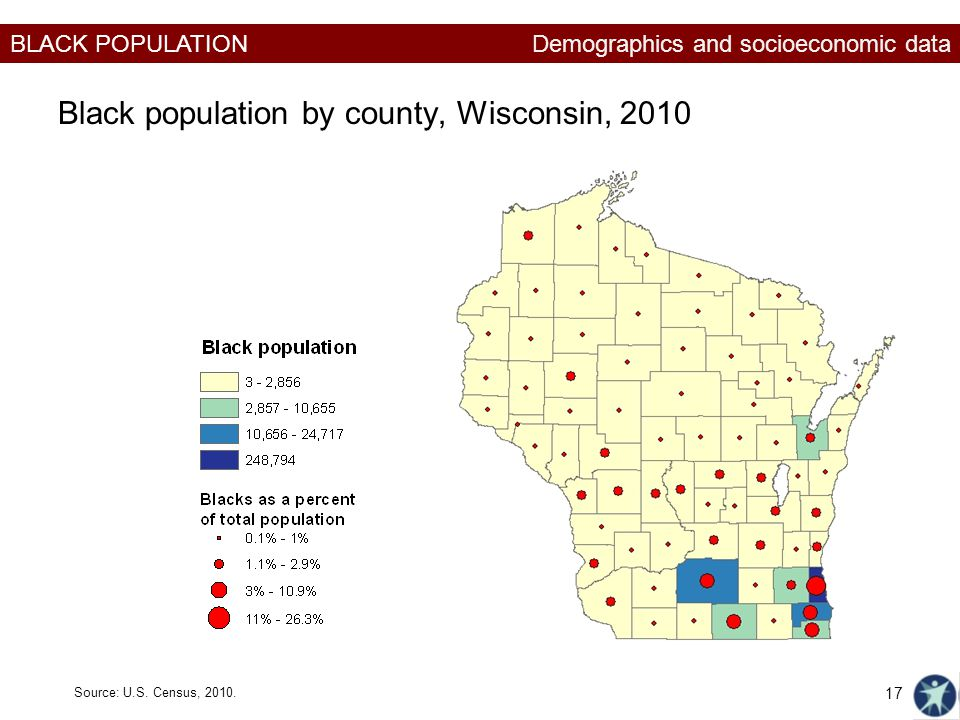 Black population by county, Wisconsin, 2010
