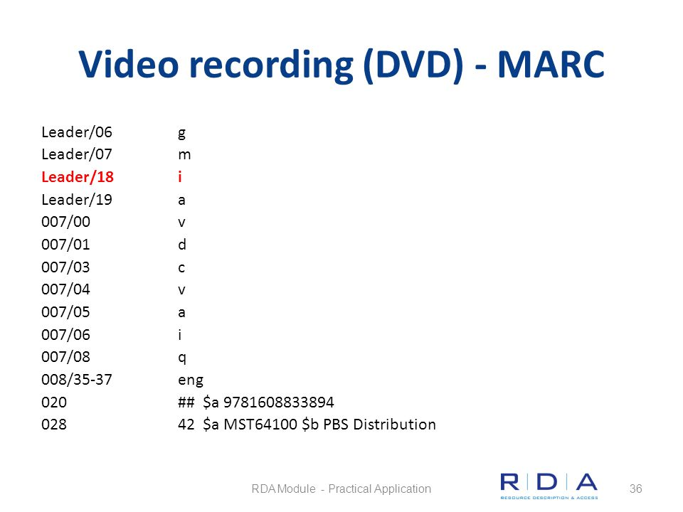Video recording (DVD) - MARC