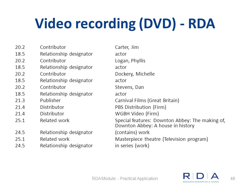 Video recording (DVD) - RDA