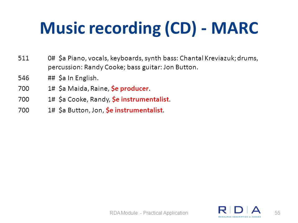 Music recording (CD) - MARC