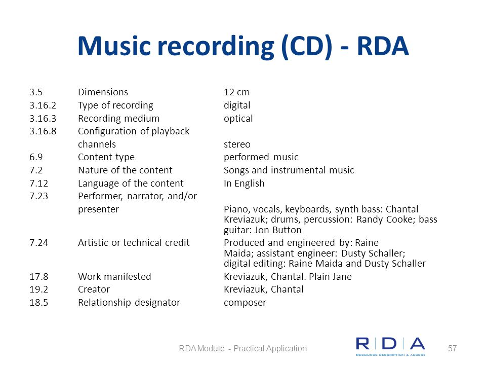 Music recording (CD) - RDA