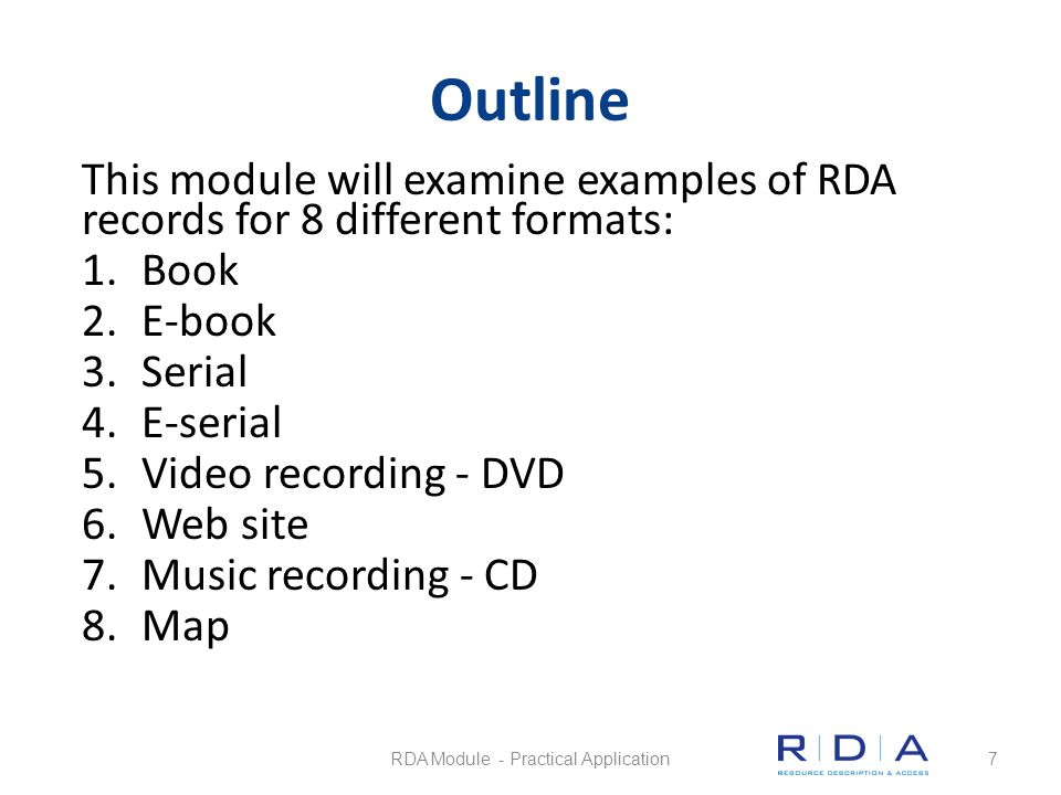 RDA Module - Practical Application