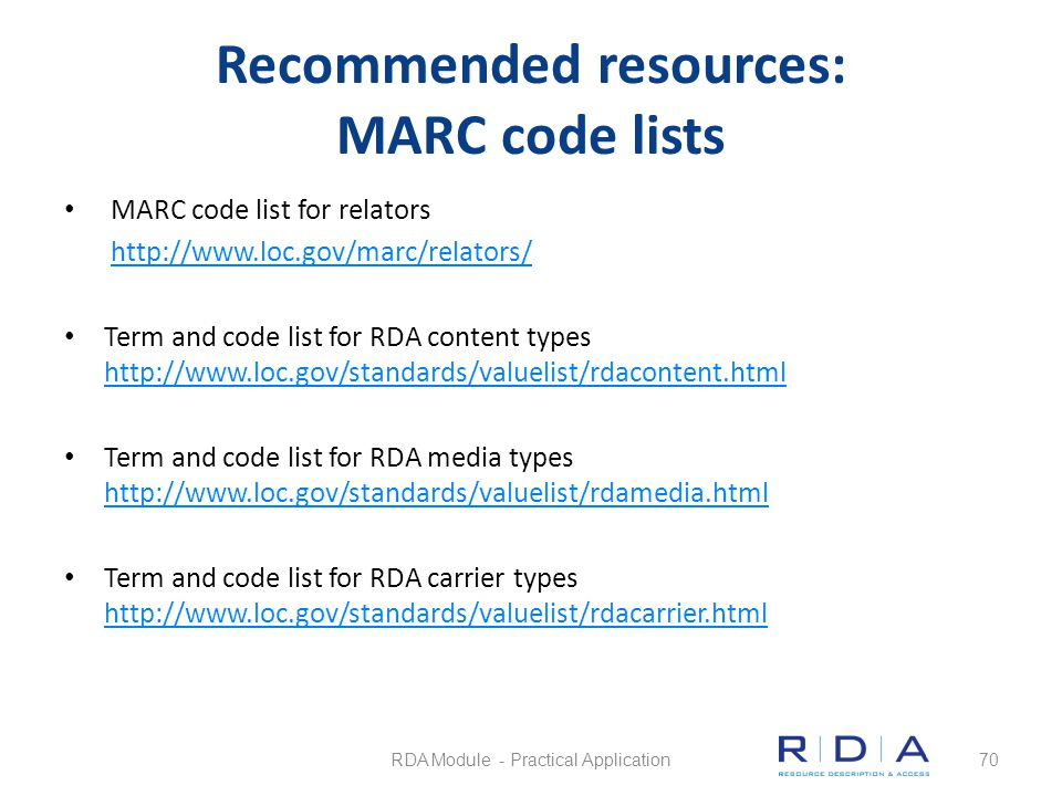 Recommended resources: MARC code lists