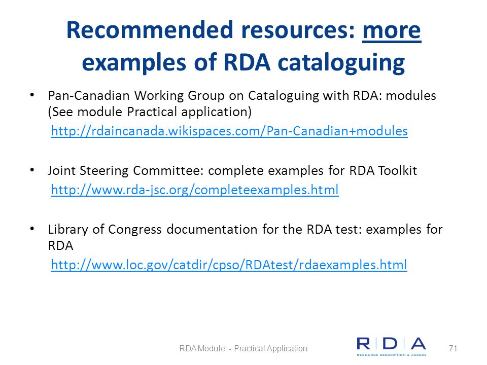 Recommended resources: more examples of RDA cataloguing