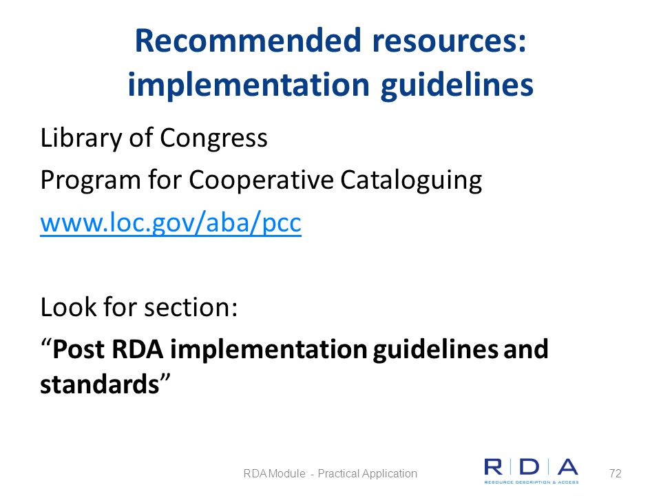 Recommended resources: implementation guidelines
