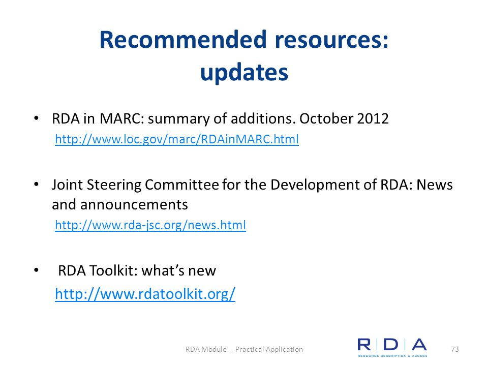 Recommended resources: updates