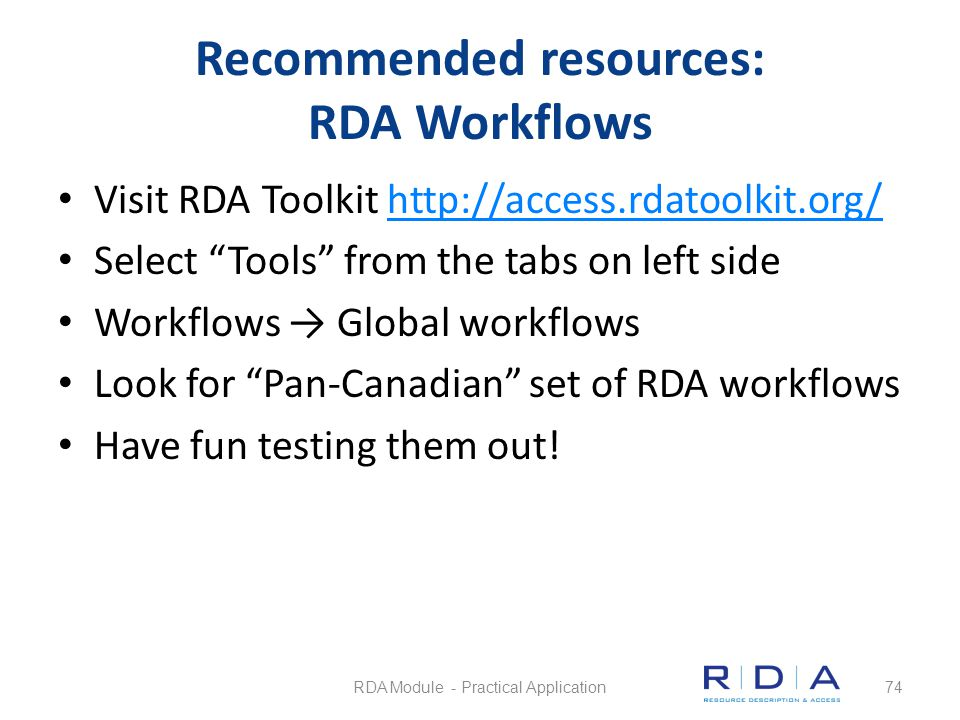 Recommended resources: RDA Workflows