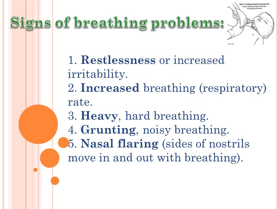 Signs of breathing problems: