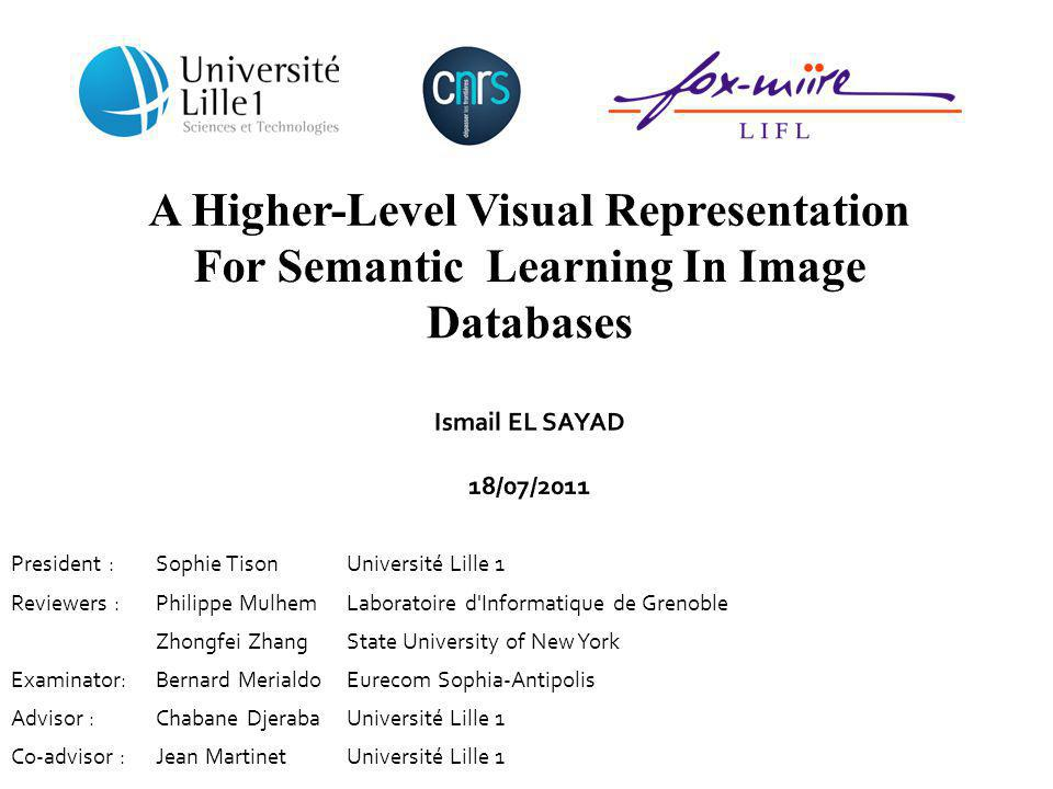 A Higher-Level Visual Representation For Semantic Learning In Image Databases Ismail EL SAYAD 18/07/2011