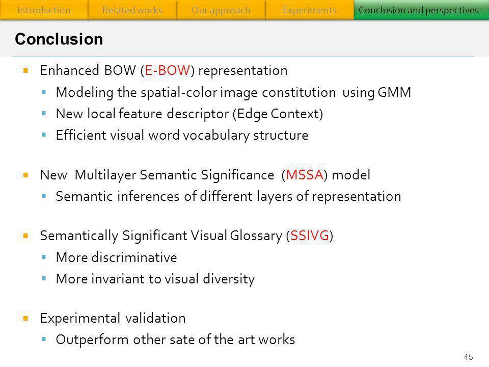 Conclusion Enhanced BOW (E-BOW) representation
