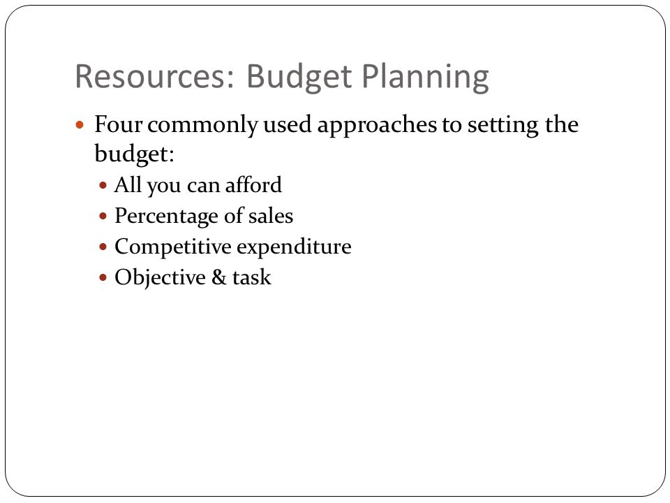 Resources: Budget Planning