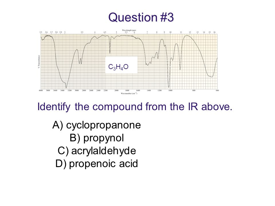Question #3 Identify the compound from the IR above. cyclopropanone