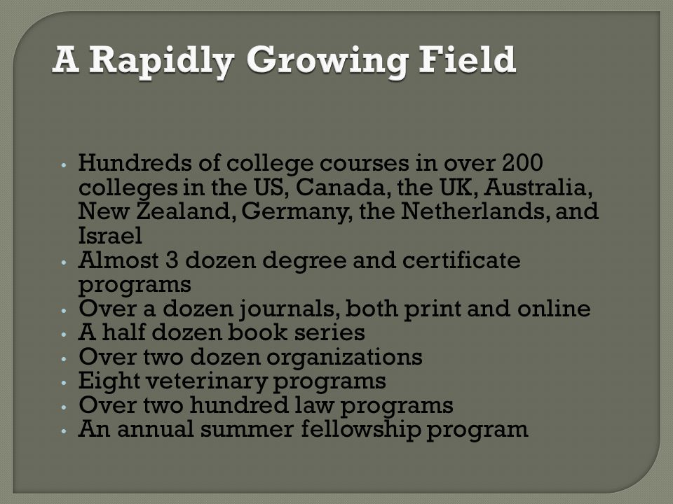A Rapidly Growing Field