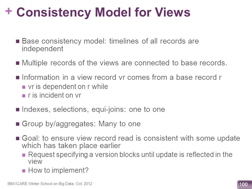 Consistency Model for Views