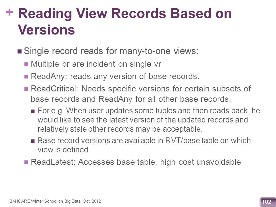 Reading View Records Based on Versions