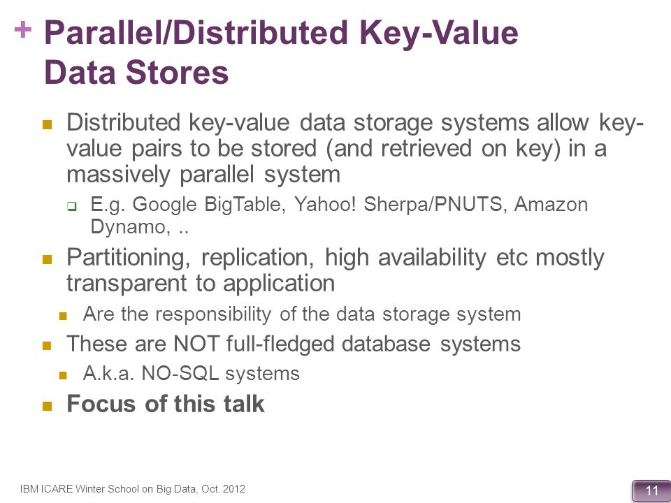 Parallel/Distributed Key-Value Data Stores