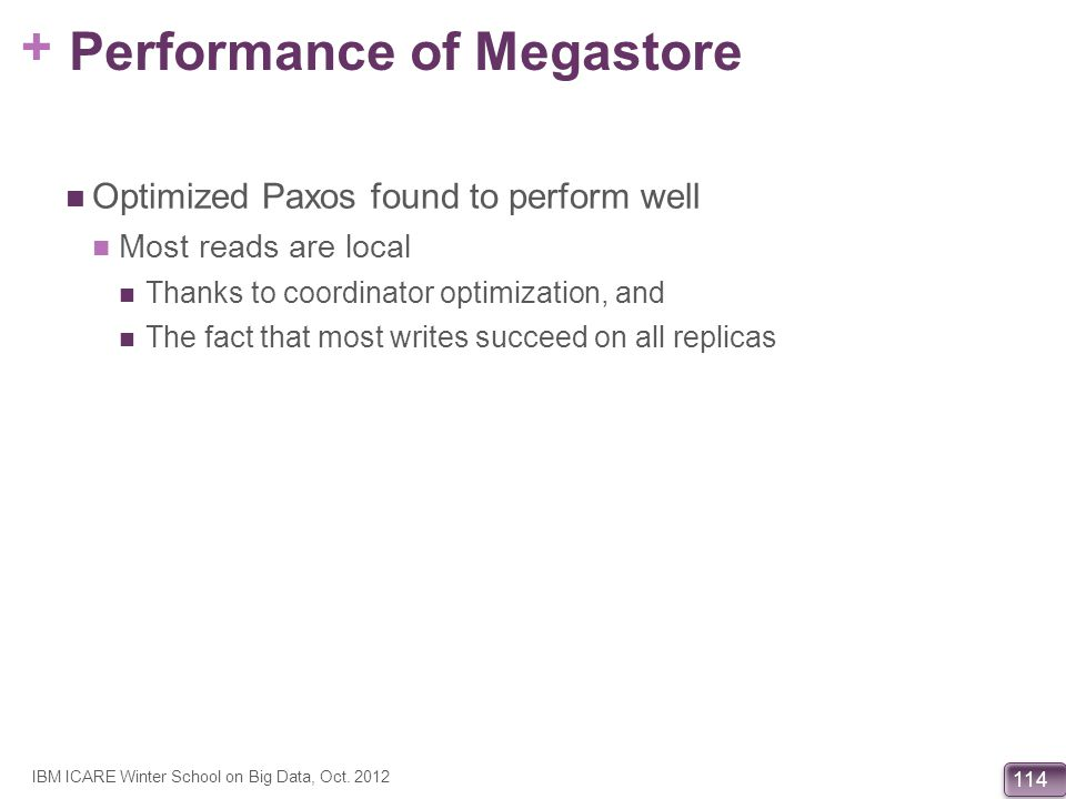 Performance of Megastore