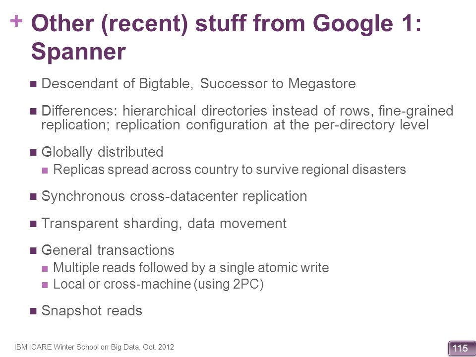 Other (recent) stuff from Google 1: Spanner