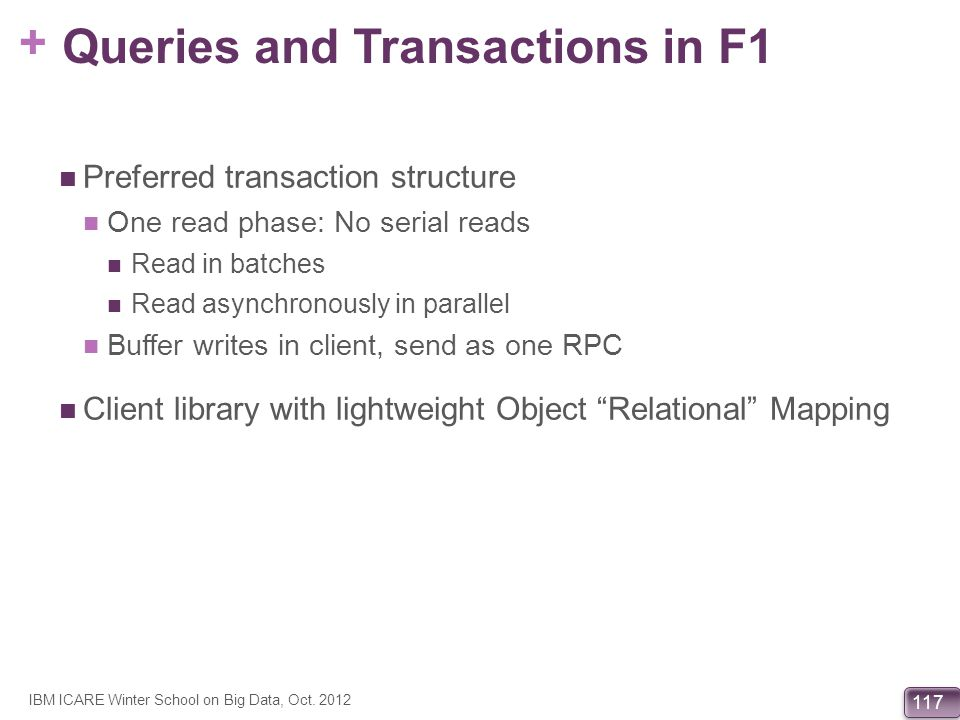 Queries and Transactions in F1