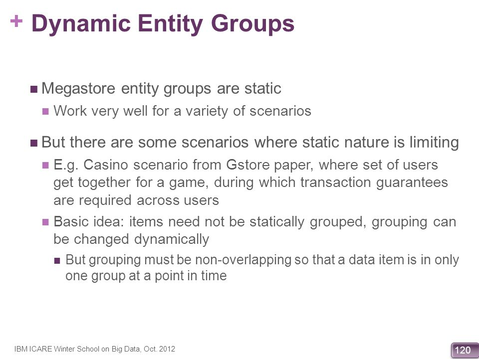 Dynamic Entity Groups Megastore entity groups are static