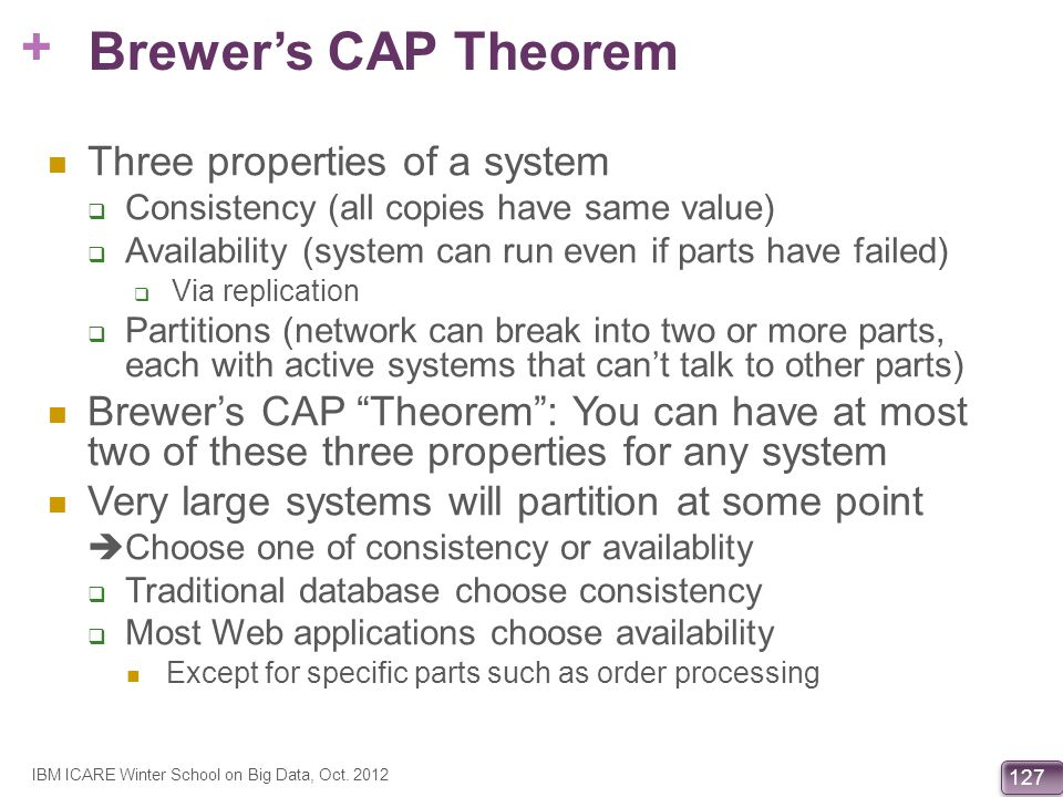 Brewer's CAP Theorem Three properties of a system