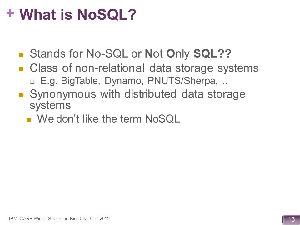 What is NoSQL Stands for No-SQL or Not Only SQL