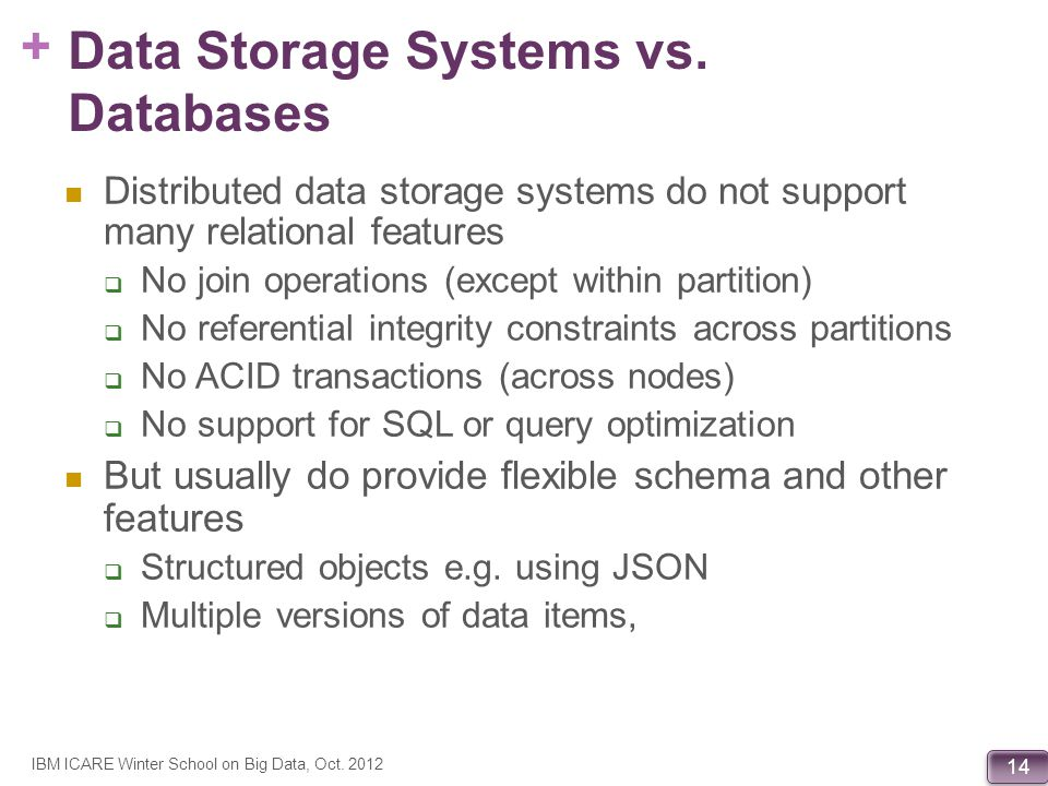 Data Storage Systems vs. Databases