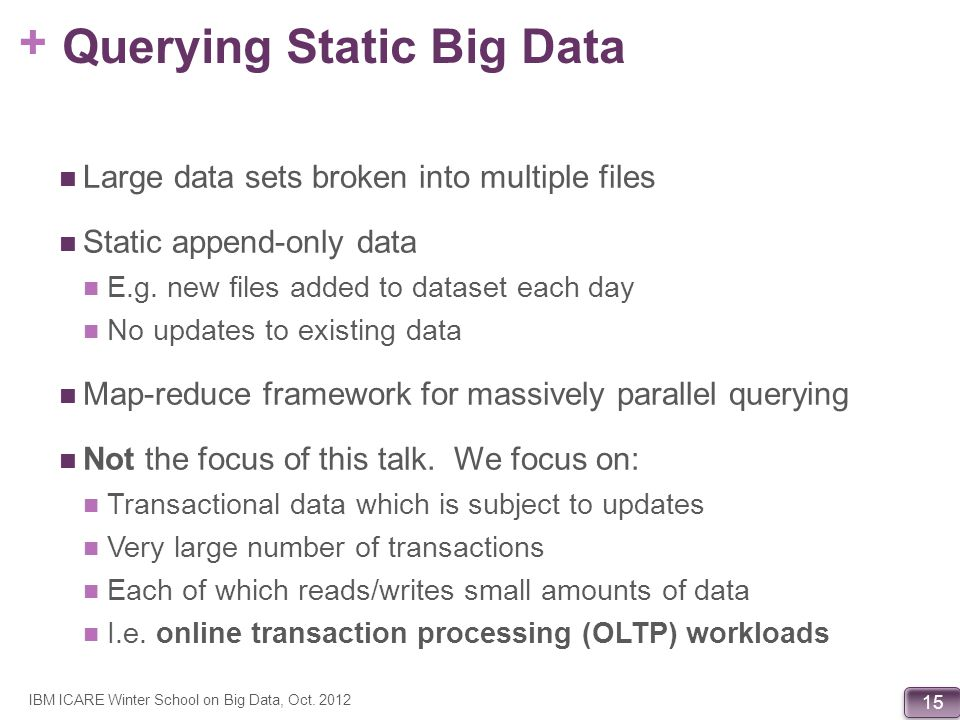 Querying Static Big Data