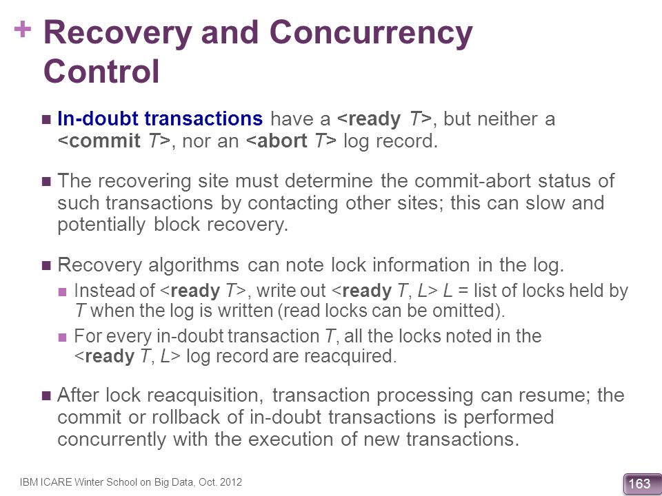 Recovery and Concurrency Control