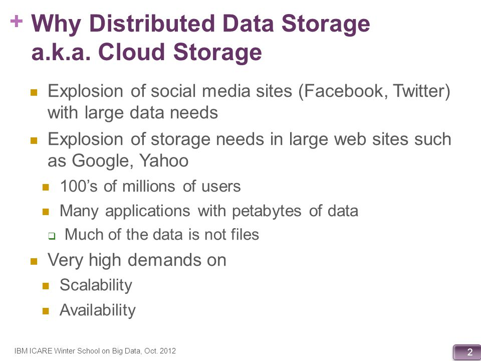Why Distributed Data Storage a.k.a. Cloud Storage