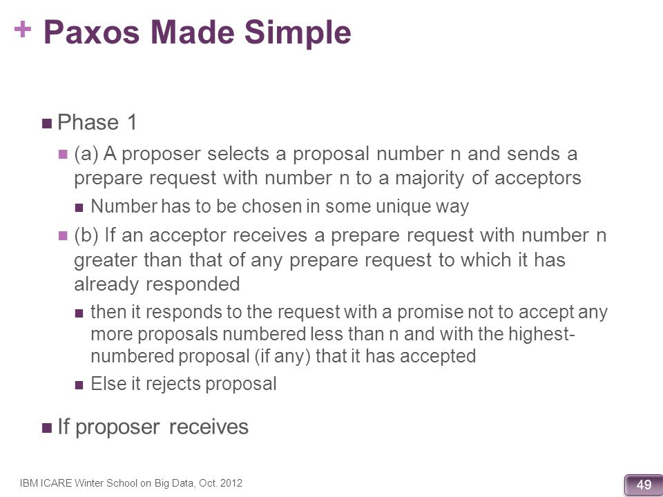 Paxos Made Simple Phase 1 If proposer receives