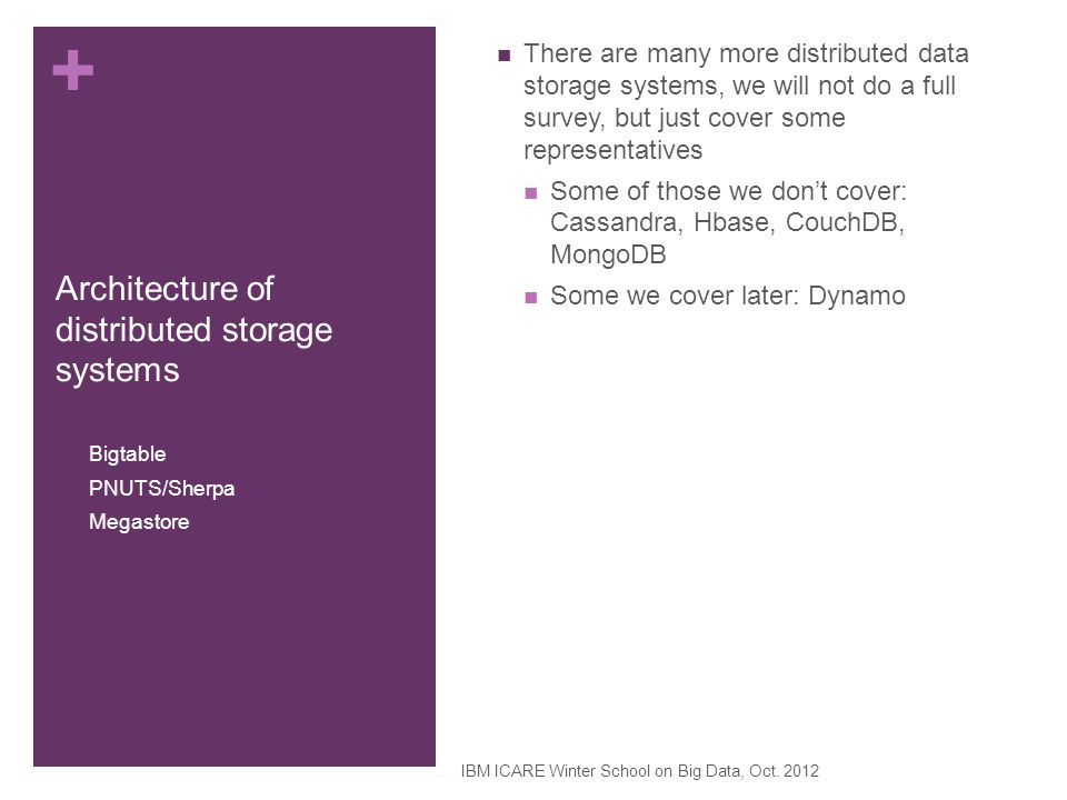 Architecture of distributed storage systems