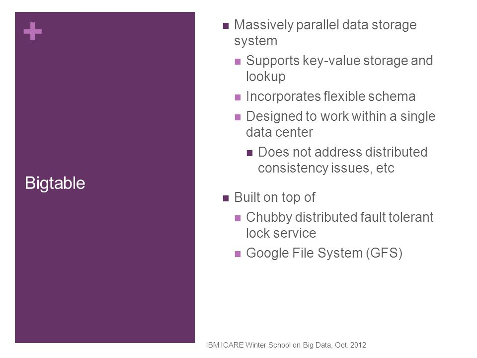 Bigtable Massively parallel data storage system