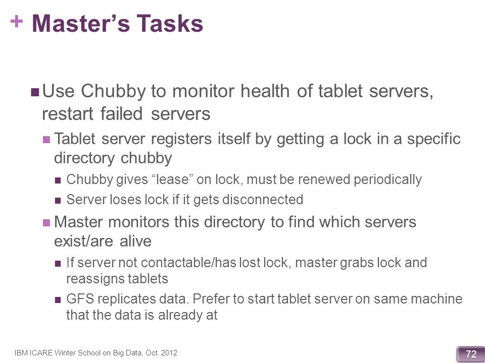 Master's Tasks Use Chubby to monitor health of tablet servers, restart failed servers.