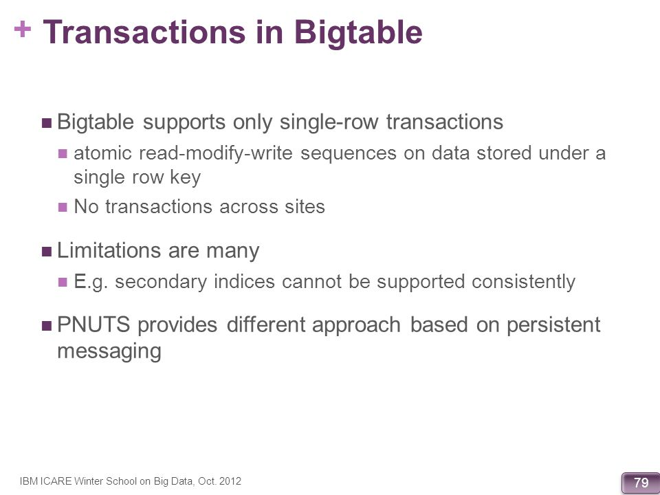 Transactions in Bigtable