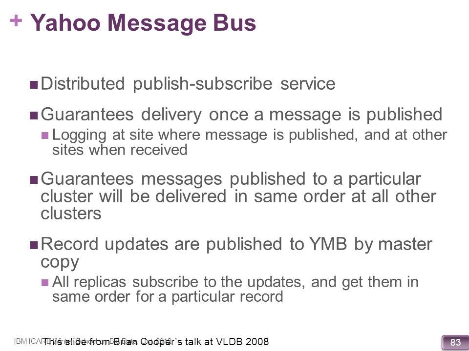 Yahoo Message Bus Distributed publish-subscribe service