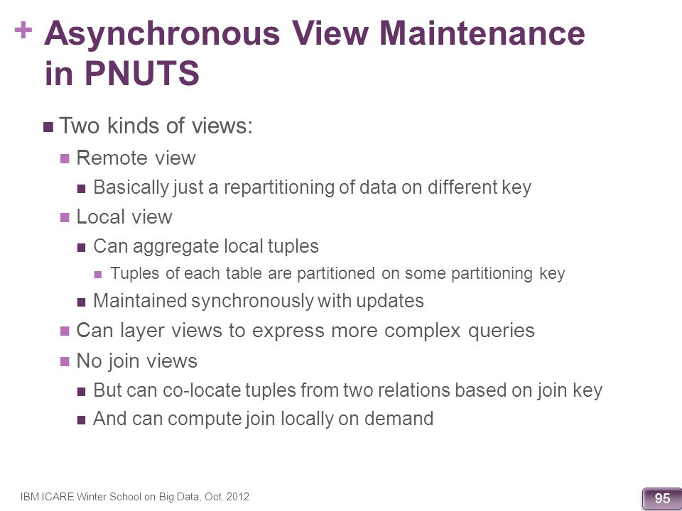 Asynchronous View Maintenance in PNUTS