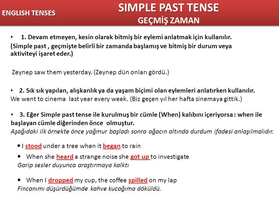 SIMPLE PAST TENSE GEÇMİŞ ZAMAN ENGLISH TENSES