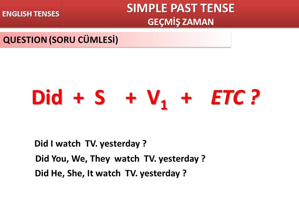 Did + S + V1 + ETC SIMPLE PAST TENSE GEÇMİŞ ZAMAN