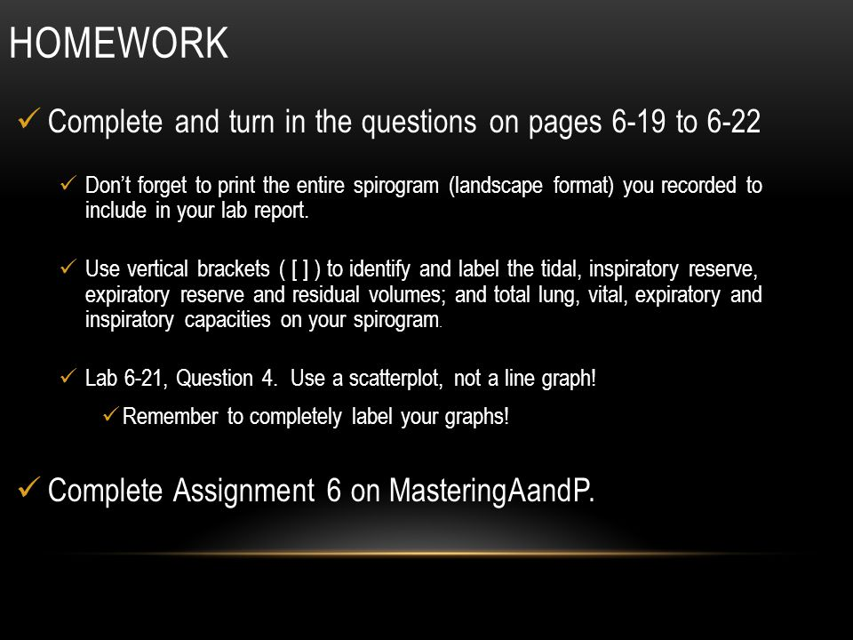 Homework Complete and turn in the questions on pages 6-19 to 6-22