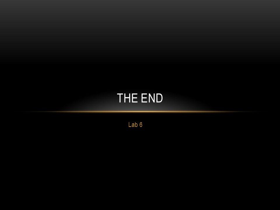 The End Lab 6