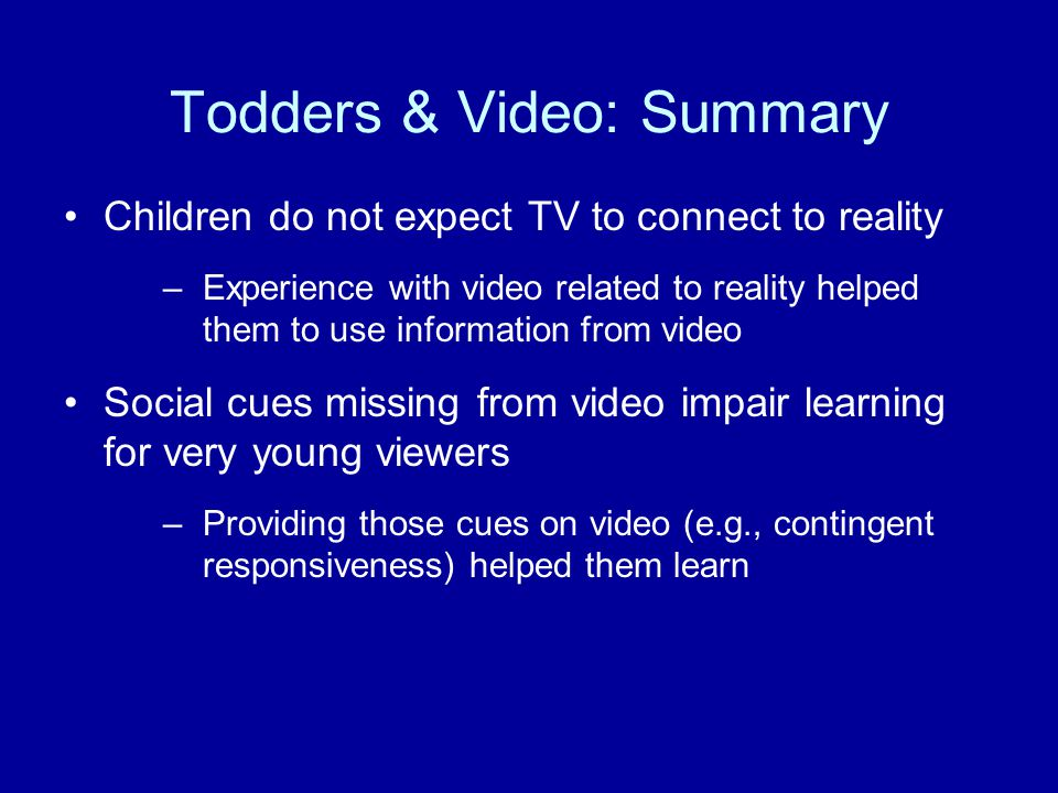 Todders & Video: Summary