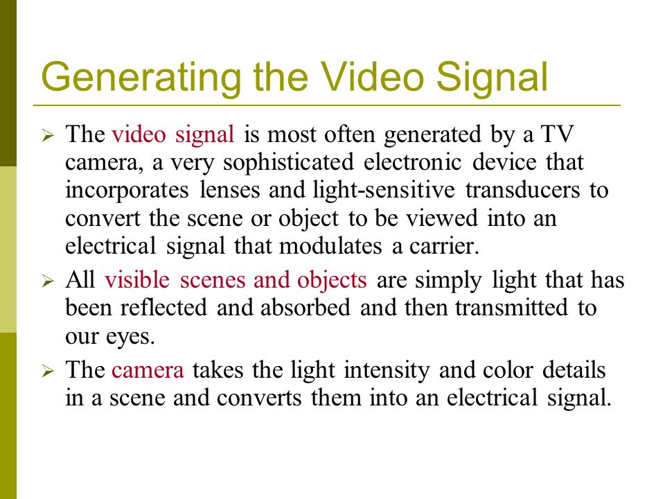 Generating the Video Signal
