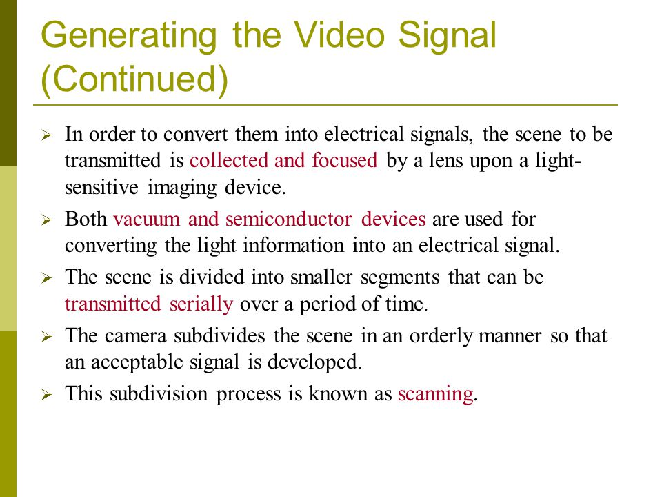 Generating the Video Signal (Continued)