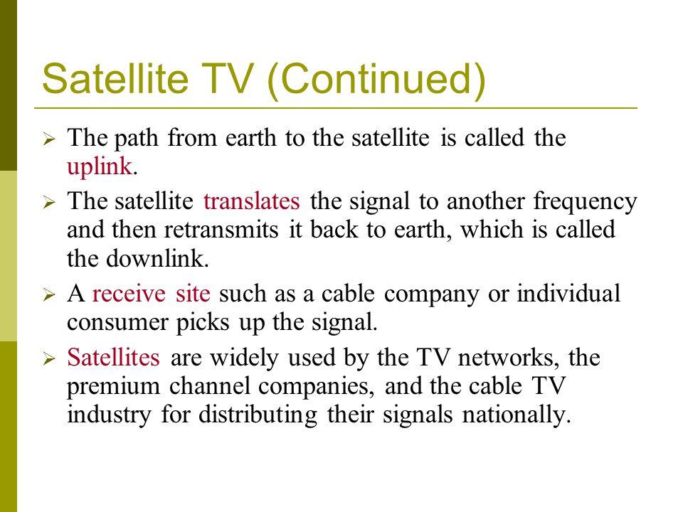 Satellite TV (Continued)