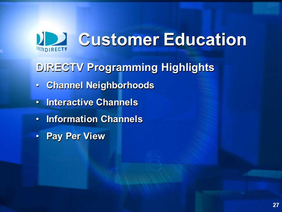 Customer Education DIRECTV Programming Highlights