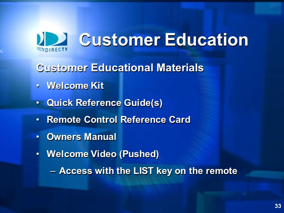 Customer Education Customer Educational Materials Welcome Kit