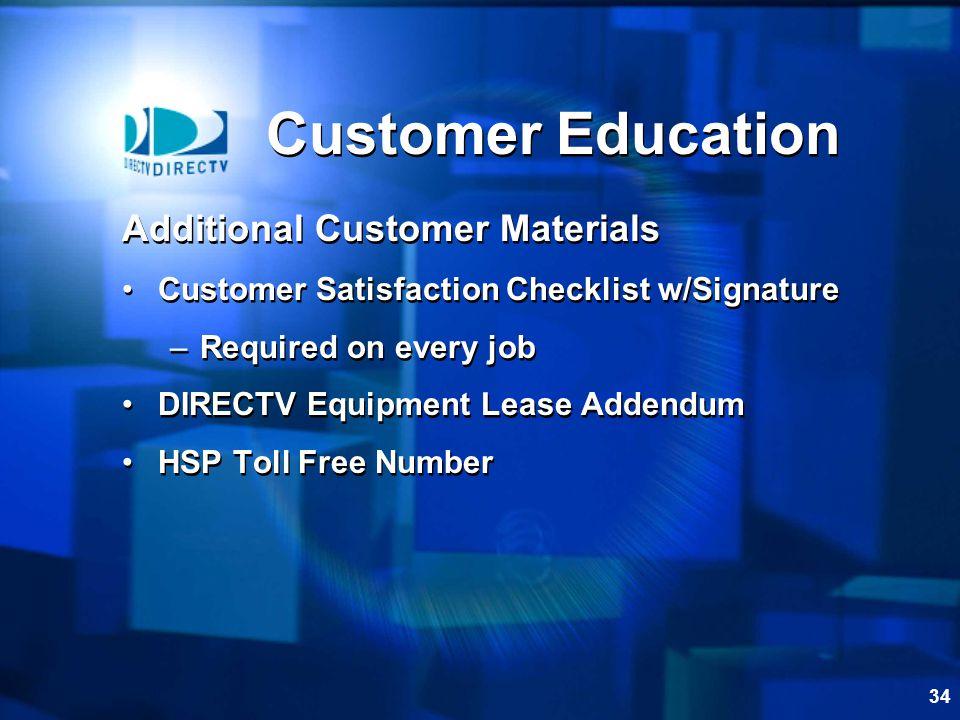 Customer Education Additional Customer Materials